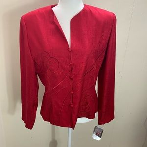 NWT adrianna papell Red Button Blouse Size 12